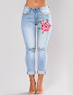 Women's Mid Rise strenchy Skinny Jeans Pants,Street chic Slim Embroidered Embroidery
