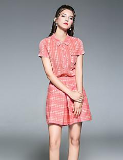 Printer Uelastisk Kortermet,Skjortekrage قميص Bukse Drakter Printer Sommer Chic & Moderne Fritid/hverdag Dame