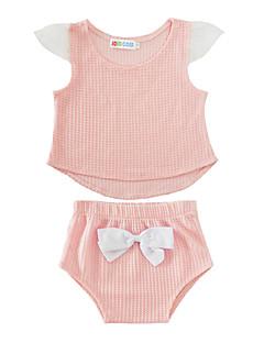 billige Babytøj-Baby Børne Tøjsæt Bomuld Afslappet Helfarve, Bomuld Sommer Kort Ærme Lyserød