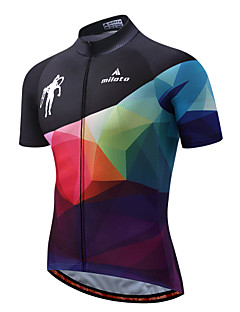 Miloto Cycling Jersey Men's Short Sleeves Bike Jersey Reflective Strip Fast Dry Stretchy Spandex Polyester Spring/Fall Summer Cycling