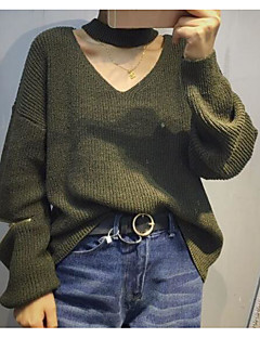 baratos Suéteres de Mulher-Mulheres Sólido Diário Casual Pulôver, Decote V Manga Longa Outono