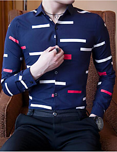 Men's Casual/Daily Simple Spring Fall Shirt,Geometric Classic Collar Long Sleeves Cotton Others