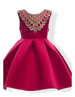 שמלה כותנה פוליאסטר קיץ ללא שרוולים אחיד הילדה של