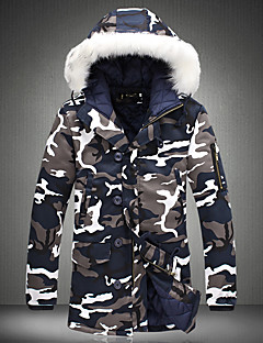 Men's Regular Padded Coat,Street chic Daily Camouflage-Cotton Polypropylene Long Sleeves