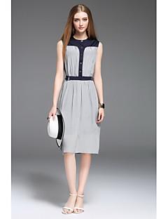 Kadın Günlük/Sade A Şekilli Elbise Desen Zıt Renkli,Kolsuz Yuvarlak Yaka Diz-boyu İpek Bahar Yaz Normal Bel Mikro-Esnek Orta