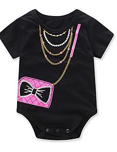 billige Babytøj-Baby Pige En del Mode Geometrisk, Bomuld Sommer Kortærmet Tegneserie Pænt tøj Sort