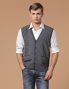 Men's Casual/Daily Short Vest,Solid V Neck Sleeveless Others Spring Winter Medium Micro-elastic