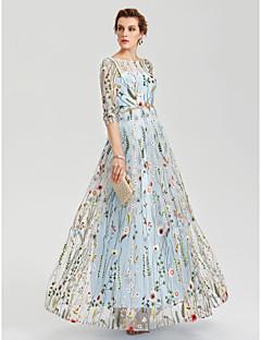 billiga Aftonklänningar-A-linje Illusion Halsband Golvlång Spets Genomskinlig Formell kväll Klänning med Broderad / Bälte / band av TS Couture®