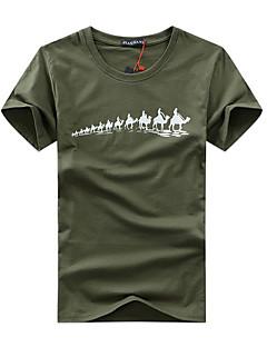 Miehet Lyhythihainen Ohut Pyöreä kaula-aukko Puuvilla Kesä Yksinkertainen Aktiivinen Rento/arki Plus-koko T-paita,Painettu