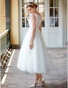billiga Brudklänningar-Prinsessa Illusion Halsband Telång Spets på tyll Bröllopsklänningar tillverkade med Knappar / Skärp / Band av LAN TING BRIDE® / Liten vit klänning / Genomskinliga / Vacker i svart