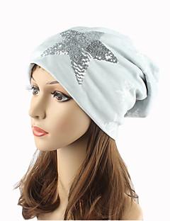 billige Trendy hatter-Dame Hodeplagg Søtt Chic & Moderne Strikketøy Beanie Hatt Solhatt - Paljetter Trykt mønster Bomull