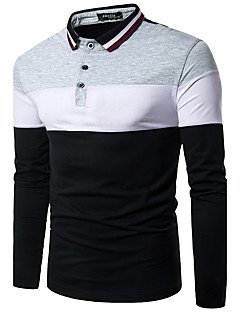 Men's Daily Street chic Polo,Color Block Shirt Collar Long Sleeves Polyester