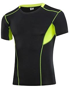 billiga Träning-, jogging- och yogakläder-Herr Lappverk T-shirt för jogging - Svart, Grå, Blå sporter Färgblock Kompressionskläder / Överdelar Kortärmad Sportkläder Fitness,