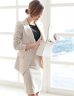 Women's Work Sophisticated Winter Sweater Skirt Suits,Stripe Turtlenecks 3/4 Sleeve