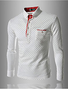 Men's Casual/Daily Work Simple Polo,Solid Shirt Collar Long Sleeves Cotton Others