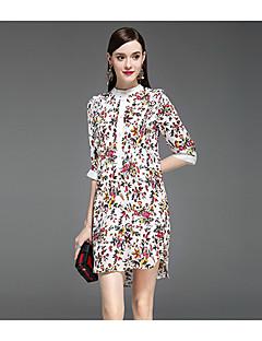 Kadın Günlük/Sade A Şekilli Elbise Desen,Yarım Kol Yuvarlak Yaka Diz üstü İpek Yaz Normal Bel Mikro-Esnek Orta