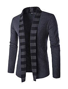 Men's Daily Casual Regular Cardigan,Striped Long Sleeves Polyester Winter Spring Fall Medium Micro-elastic