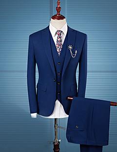 Herren Gestreift Einfach Lässig/Alltäglich Arbeit Übergröße Anzug,Peter Pan-Kragen Herbst Winter Lange Ärmel Standard Polyester Patchwork