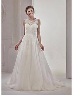baratos Loja de Casamentos-Linha A Ilusão Decote Cauda Corte Tulle Over Lace Vestido de casamento com Apliques Renda de Marrica