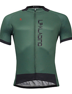 cheap Cycling Clothing-ILPALADINO Men's Short Sleeves Cycling Jersey - Dark Green Bike Jersey, Quick Dry, Spring Summer, Polyester Coolmax