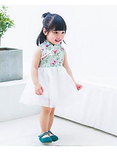 billige Babytøj-Baby Pigens Kjole I-byen-tøj Sommer Uden ærmer Kineseri Blå Grøn Hvid