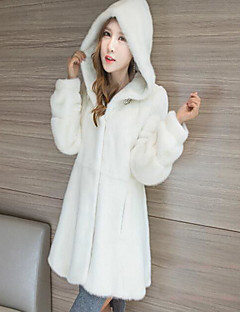 Women's Casual/Daily Simple Fall Winter Fur Coat,Solid Hooded Long Sleeve Long Others