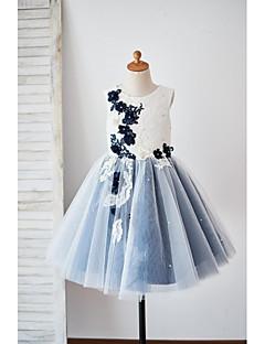 abordables -Trapèze Mi-long Robe de Demoiselle d'Honneur Fille - Dentelle Tulle Sans Manches Bijoux avec Appliques Style cristal dispersé Fleur par