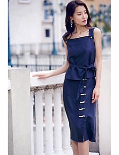 Kadın Mikro-elastik Kolsuz Askılı İlkbahar Yaz Solid Etekler Günlük Actif Doğumgünü Günlük Kadın kısa ve kolsuz bluz Etek Suit