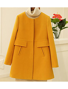 Damen Solide Einfach Ausgehen Lässig/Alltäglich Trench Coat,Rundhalsausschnitt Winter Lange Ärmel Standard Baumwolle