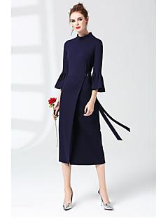Χαμηλού Κόστους ZRANFANG-Γυναικεία Κομψό στυλ street Swing Φόρεμα - Μονόχρωμο Μίντι Στρογγυλή Ψηλή Λαιμόκοψη
