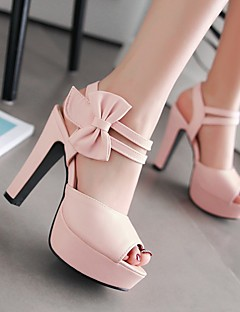 cheap -Women's Shoes PU Summer Comfort Heels Chunky Heel Peep Toe Bowknot for Black / Light Purple / Pink