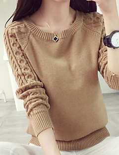 Women's Casual/Daily Regular Pullover,Solid Round Neck Long Sleeves Cotton Linen Fall Medium Micro-elastic