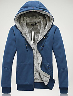 Men's Going out Casual/Daily Street chic Hoodie Solid Hooded Inelastic Cotton Long Sleeve Spring Fall