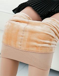 moda feminina grossa fleeced forrada de cor sólida legging, sólida, quente