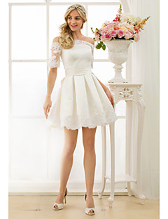 cheap Plus Size Wedding Dresses-A-Line Princess Off Shoulder Short / Mini Satin Custom Wedding Dresses with Appliques Sashes/ Ribbons by LAN TING BRIDE®