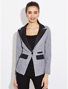 Damen Solide Einfach Arbeit Blazer,Gekerbtes Revers Frühling Herbst Langärmelige Lang Baumwolle Polyester Andere