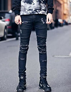Men's Mid Rise Micro-elastic Skinny Jeans Pants,Simple Skinny Jeans Pleated Ripped Solid