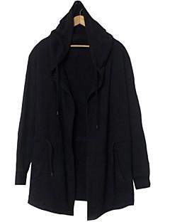 メンズ カジュアル/普段着 春 秋 トレンチコート,シンプル フード付き ソリッド ロング コットン 長袖