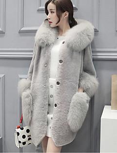 Dames Street chic Herfst Winter Bontjas,Casual/Dagelijks Grote maten Effen Capuchon Lange mouw Lang Konijnenbont Imitatiebont