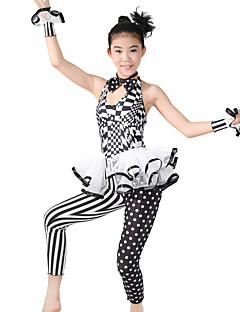 cheap Jazz Dance Wear-Jazz Unitards Women's Performance Polyester Spandex Pattern / Print Cascading Ruffle Polka Dot Ruffles Sleeveless Natural Leotard /