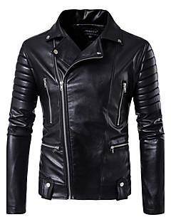 お買い得  メンズジャケット&コート-男性用 クラブ レザージャケット, セクシー ソリッド