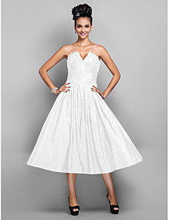 47432b367d05 Βραδινή τουαλέτα Λαιμόκοψη V Κάτω από το γόνατο Ταφτάς Μικρό Μαύρο Φόρεμα  Κοκτέιλ Πάρτι   Χοροεσπερίδα Φόρεμα με Πλισέ με TS Couture®
