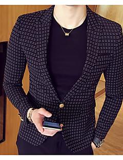 남성 솔리드 줄무늬 프린트 카울 넥 긴 소매 블레이져,스트리트 쉬크 캐쥬얼/데일리 보통 폴리우레탄 폴리에스테르 나일론 여름