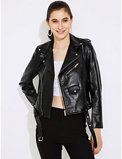 Women's Daily Cute Fall / Winter Leather JacketsSolid Shirt Collar Long Sleeve Pink / Red / Black PU Medium