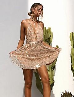 tanie SS 18 Trends-Damskie Bufka Luźna Sukienka - Jendolity kolor, Bez pleców Warstwy materiały Siateczka W serek