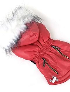 billiga Hundkläder-Hund Kappor Hundkläder Enfärgad Purpur Ros Röd Grön Blå Polyester Ner Kostym För husdjur Dam Ledigt/vardag Nyår