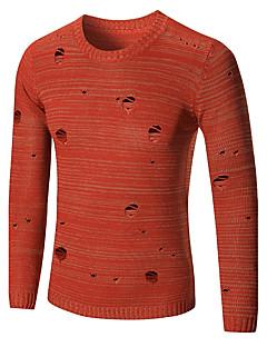 tanie Męskie swetry i swetry rozpinane-Męskie Klubowa Punk & Gotyckie Boho Okrągły dekolt Pulower - Wycięcia, Jendolity kolor