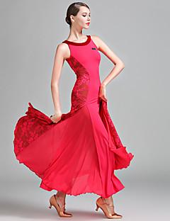זול הלבשה לריקודים סלוניים-ריקודים סלוניים בגדי ריקוד נשים הופעה תחרה מילק פייבר שרוכים בלי שרוולים טבעי שמלה
