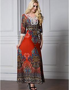 Feminino Kaftan Vestido,Casual Simples Estampado Decote Redondo Longo Manga Longa Algodão Verão Cintura Alta Micro-Elástica Média