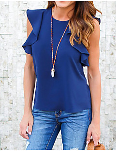 Women's Daily Going out Cute Casual Blouse,Solid Round Neck Sleeveless Polyester